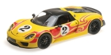 Porsche 918 Spyder Weissach Package 2013 yellow with red stripes 1:18 Minichamps
