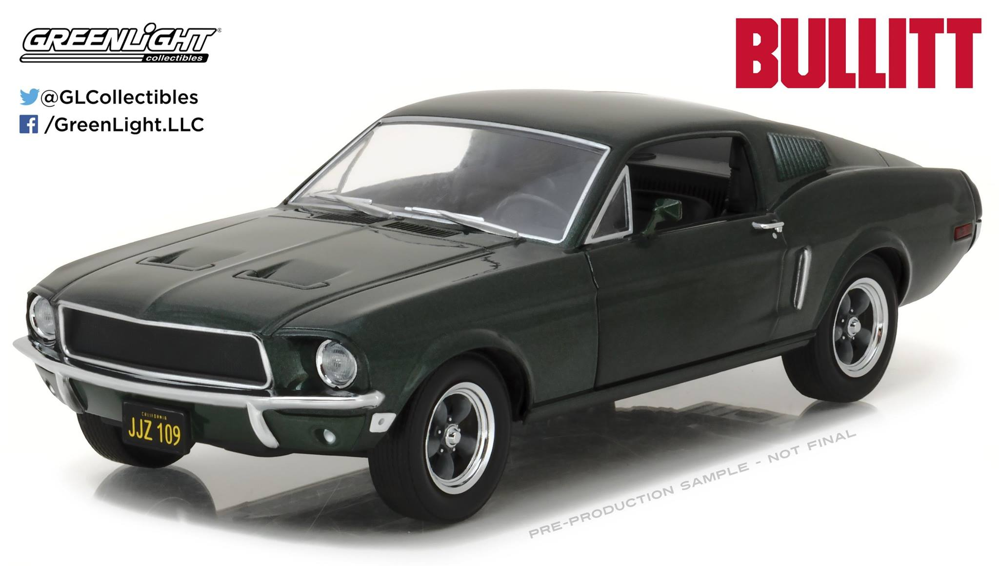 Ford Mustang GT fastback 1968 movie Bullit with Steve McQueen 1:18 Greenlight