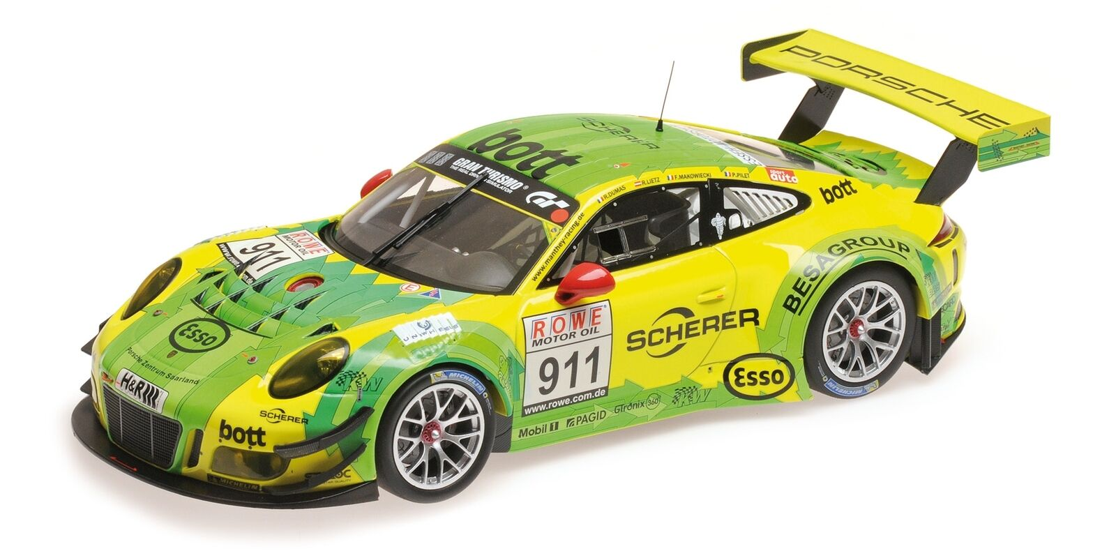 Porsche 911 GT3 R Manthey Racing Winners DMV 4h Rennen VLN 2017 1:18 Minichamps