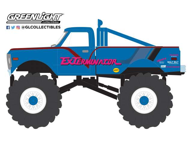 Chevrolet K-10 Monster with 66-Inch Tires *ExTerminator - Kings of Crunch 3* 1972 blue 1:43 Greenlight