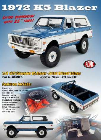 Chevrolet K5 Blazer Lifted Offroad Version 1970 blue/white 1:18 Acme Diecast