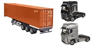 Mercedes-Benz Actros Giga Space silver, trailer, container 40 ft brown 1:18 NZG