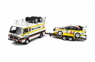 Rally Set Portugal Audi Team - Volkswagen LT 45 + Trailer + Audi Sport Quattro S1 Gr.B 1:18 OttOmobile