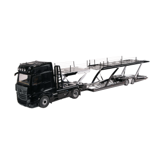Set Mercedes-Benz ACTROS & Car Transporter black/silver 1:18 NZG