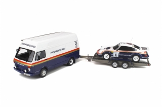 Rally Set Porsche Team - Volkswagen LT 45 + Trailer + Porsche 911 SC RS Rallye 1000 Pistes 1985 1:18 OttOmobile