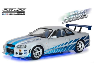 Nissan Skyline GT-R34 1999 Blue Neon LED Lights *2Fast 2Furious* 1:18 Greenlight