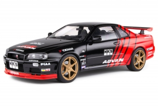 Nissan Skyline GT-R R34 Advan Drift Evocation 1999 black/red 1:18 Solido
