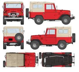 Toyota Land Cruiser FJ40 1967 red/beige 1:18 Triple9 Collection