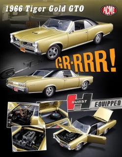 Pontiac GTO (Hurst Equipped) 1966 gold with black vinyl roof 1:18 Acme Diecast