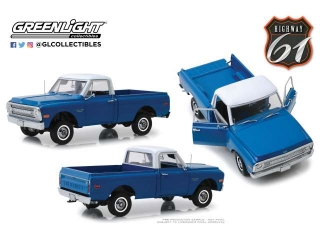 Chevrolet C-10 with Lift Kit 1970 dark blue Poly 1:18 Highway 61