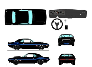 Dodge Challenger Trans Am Street Racing 1970 Black/blue 1:18 Acme Diecast