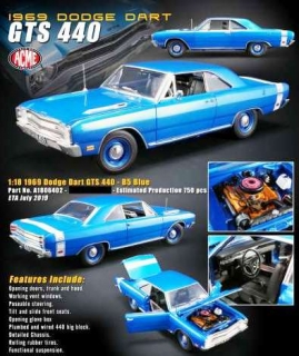Dodge Dart GTS 440 1969 blue 1:18 Acme Diecast