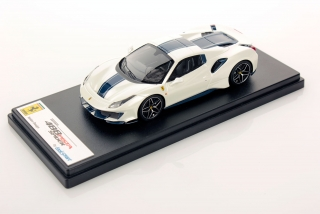 Ferrari 488 Pista Spider Hard Top Bianco Italia with blue nart livery 1:43 Look Smart Models