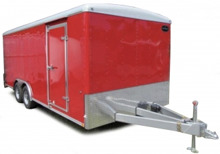 Enclosed Trailer red/silver 1:18 Auto World