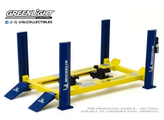 4-Post Lift *Michelin Tires* blue/yellow 1:18 GreenLight