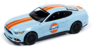 Ford Mustang GT 2017 light blue with gulf graphics 1:64 Auto World