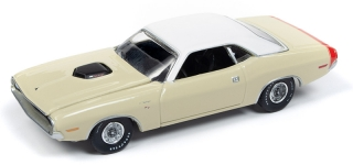 Dodge Challenger R/T, DY3 1970 cream with flat white roof & red trunk stripe 1:64 Auto World