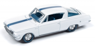 Plymouth Barracuda 1964 gloss white with light blue top stripe 1:64 Auto World