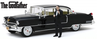 Cadillac Fleetwood Series 60 Special with Don Corleone Figure *The Godfather 1972* 1955 black 1:18 Greenlight