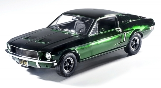 Ford Mustang Gt Fastback *Bullit with Steve McQueen* 1968 chrome green/black interior 1:18 Greenlight