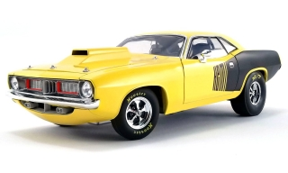 Plymouth Cuda Drag Car 1972 yellow/black 1:18 Acme Diecast