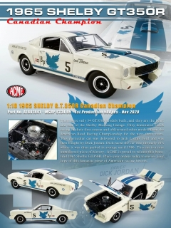 Shelby GT350R #5 Dick Jordan Canadian Champion 1965 white/blue stripes 1:18 Acme Diecast