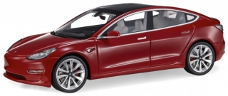 Tesla Model 3 2017 red 1:18 LS Collectibles