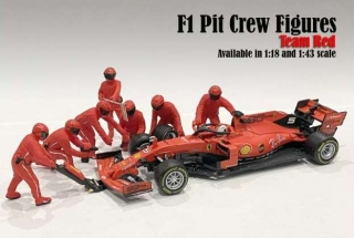 F1 Pit Crew Figures Set I Team red (7 figures) 1:18 American Diorama