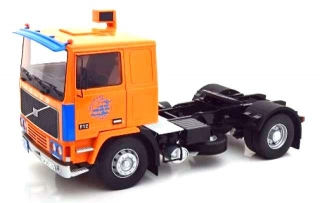 Volvo F12 Turbo 6 Tractor Truck 2-Assi 1977 orange/blue 1:18 Road Kings