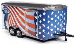 Enclosed Trailer red/white/blue 1:18 Auto World