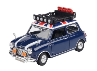 Classic Mini Cooper with Roof Rack blue/white/red 1:18 Motor Max