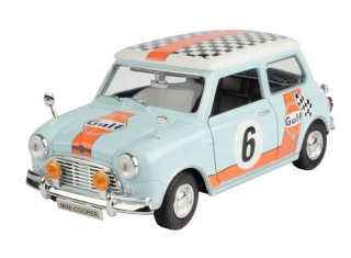 Classic Mini Cooper Gulf Rally #6 light blue/orange 1:18 Motor Max