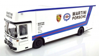 Mercedes-Benz O 317 Race Car Transporter Porsche Martini with Functional Loading Ramp 1:18 CMR