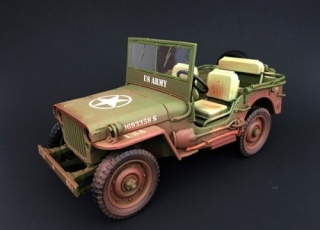 Jeep Willys US Army 1944 rough terrain muddy/green 1:18 American Diorama