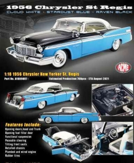 Chrysler New Yorker St. Regis 1956 white top/black hood/sky blue body 1:18 Acme Diecast
