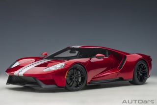 Ford GT 2017 liquid red/silver stripes 1:12 AUTOArt